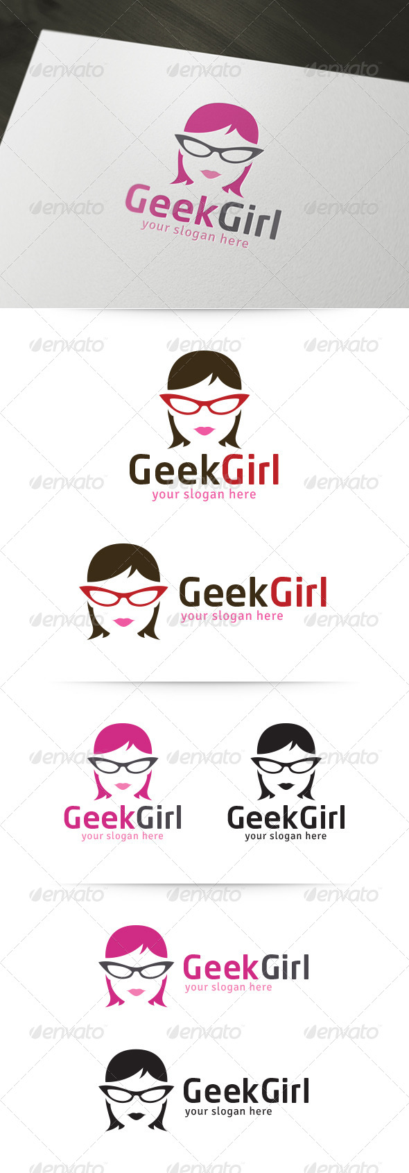GraphicRiver Geek Girl Logo 5362799