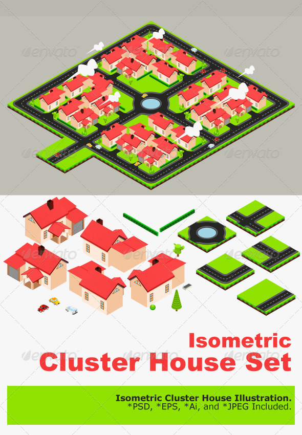 GraphicRiver Isometric Cluster House Collection Set 5362871