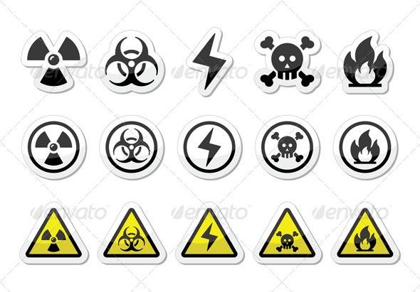 GraphicRiver Danger Risk Warning Icons Set 5362979