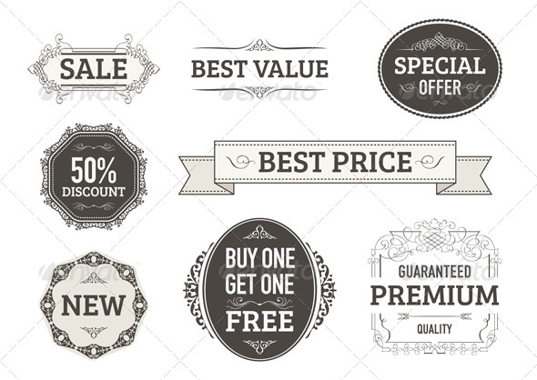 Vintage Style Banners Labels Badges