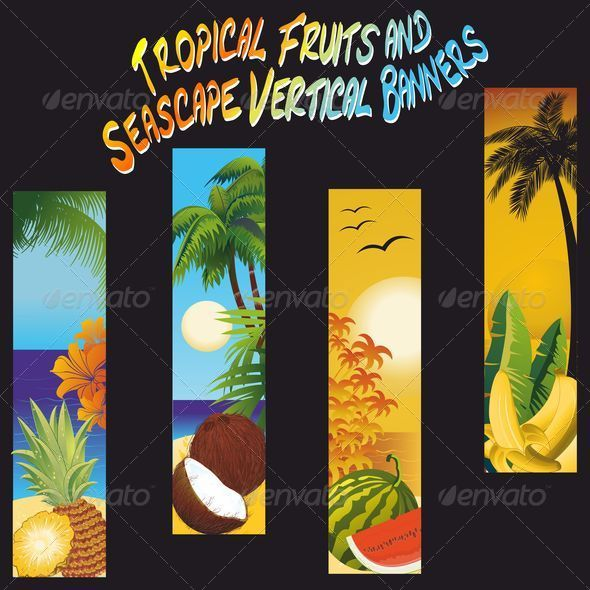 GraphicRiver Tropical Fruits and Seascape Banners 5363150