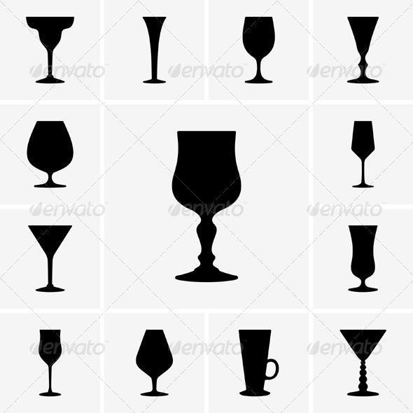 GraphicRiver Wine Glasses Icons 5363224