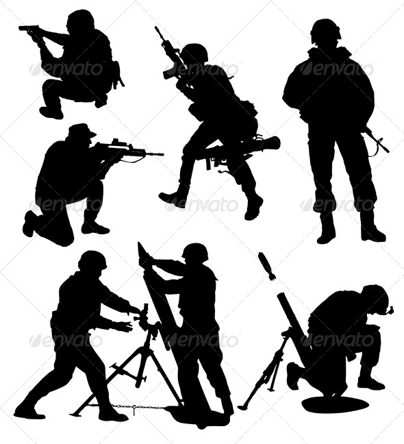 GraphicRiver Armed Soldier Silhouette 5365028