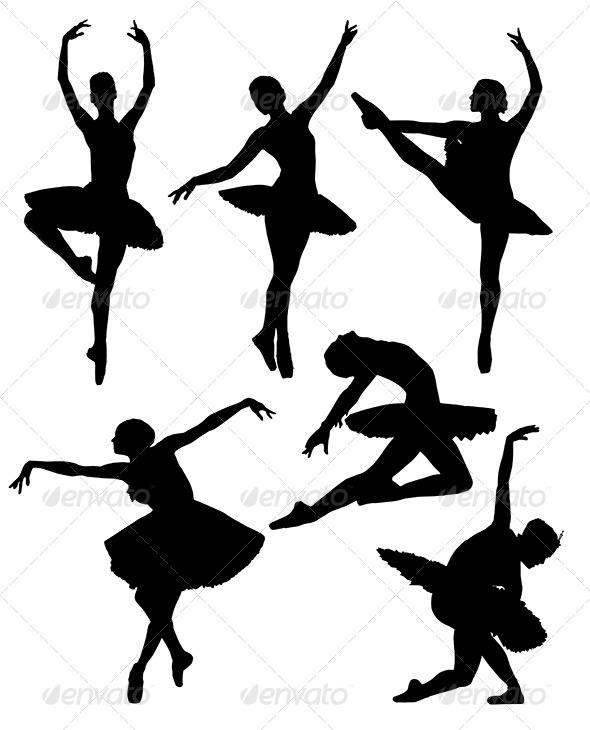 GraphicRiver Ballerina Silhouette 5365039