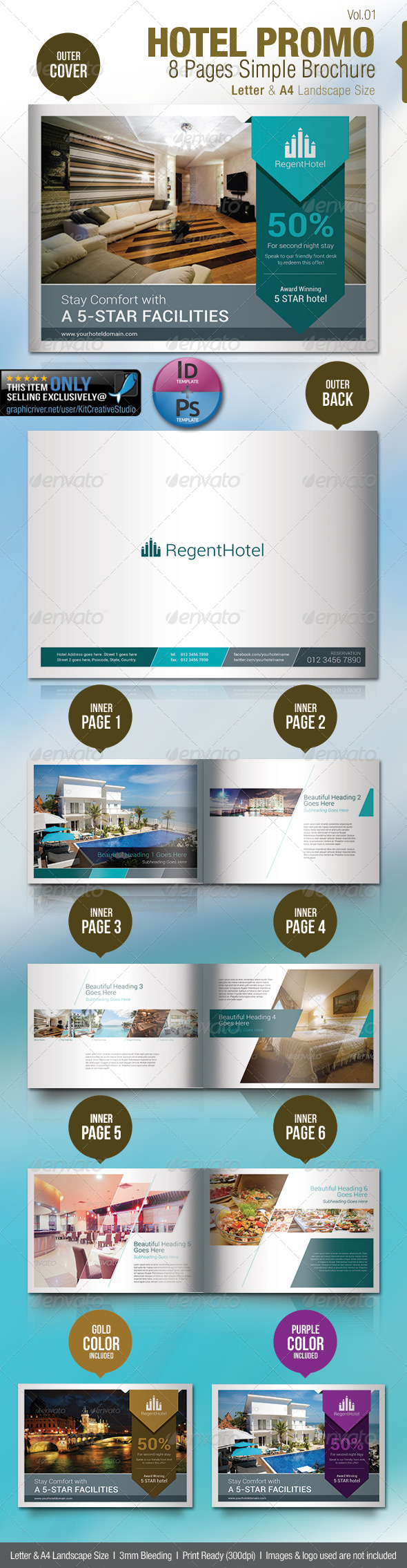 Hotel Promo 8 Pages Simple Brochure - Brochures Print Templates