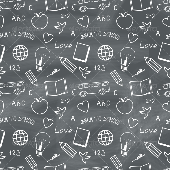 GraphicRiver Back to School Chalkboard Pattern 5365459
