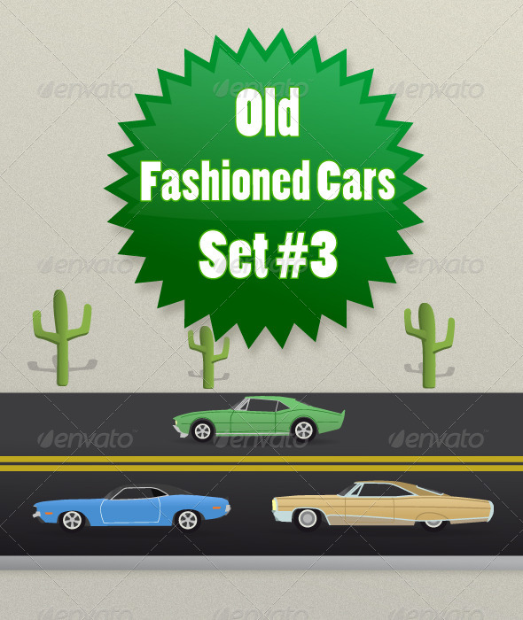 GraphicRiver Old Fashioned Cars Set 5365493