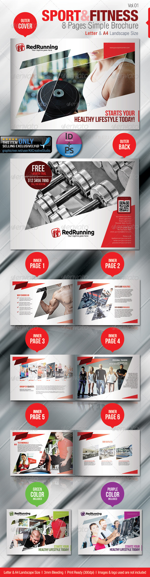 Fitness & Sport 8 Pages Simple Brochure - Brochures Print Templates