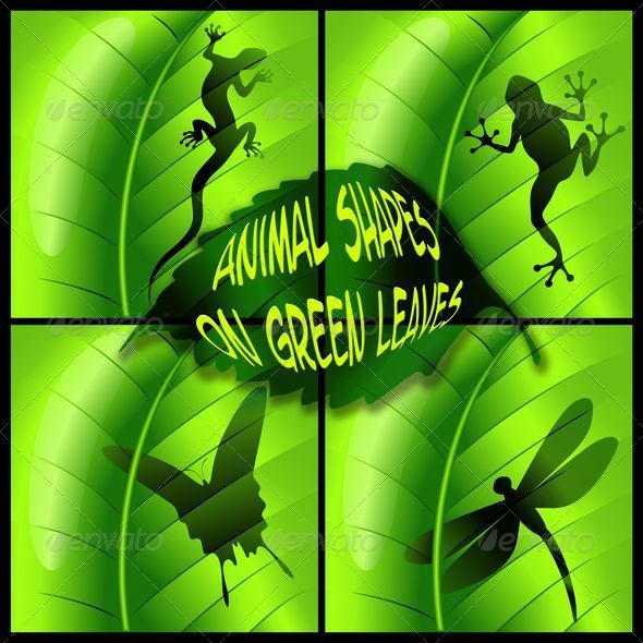 GraphicRiver Animals Shapes on Green Leaves 5365710