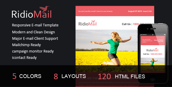 ThemeForest Ridio Mail- Responsive E-mail Template 5366044