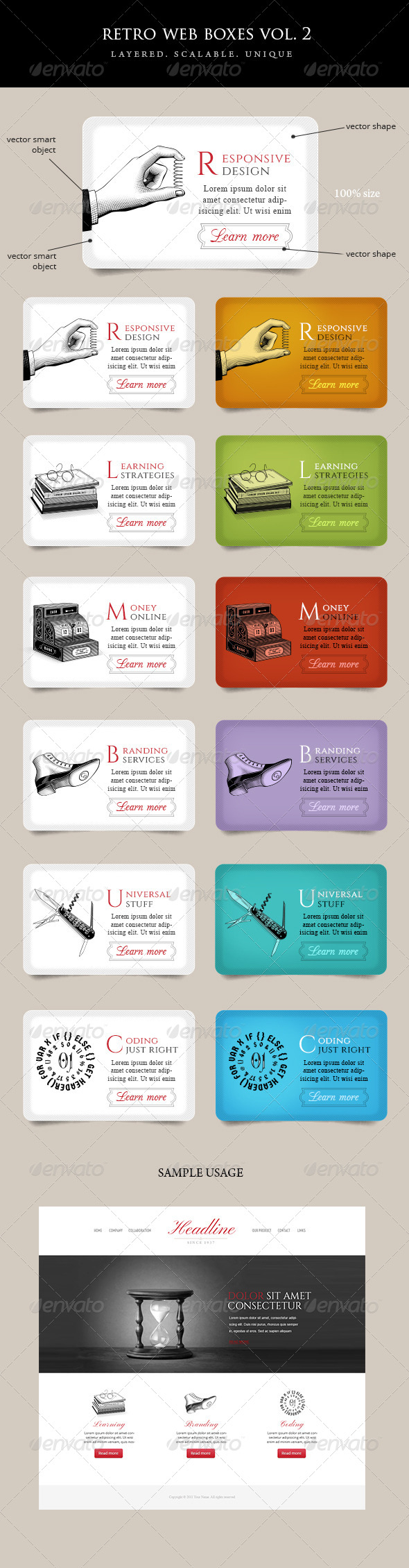 GraphicRiver Vintage Web Boxes with Icons Vol 2 5366240