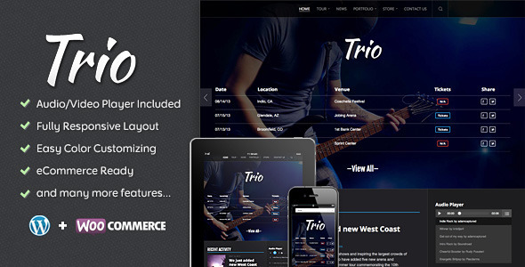 ThemeForest Trio Band WordPress Theme 5368781