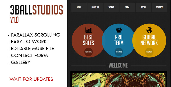 3Ball Studios Muse Template - Muse Templates
