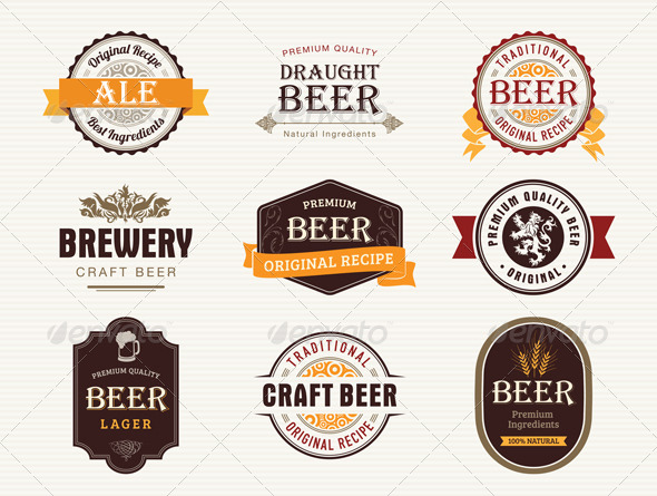 GraphicRiver 9 Beer Badges Stamps and Seals 5359574