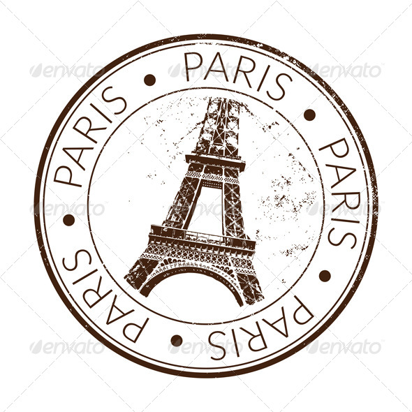 Stamp of Paris Eiffel tower with scratched effect. The file is 100% ...