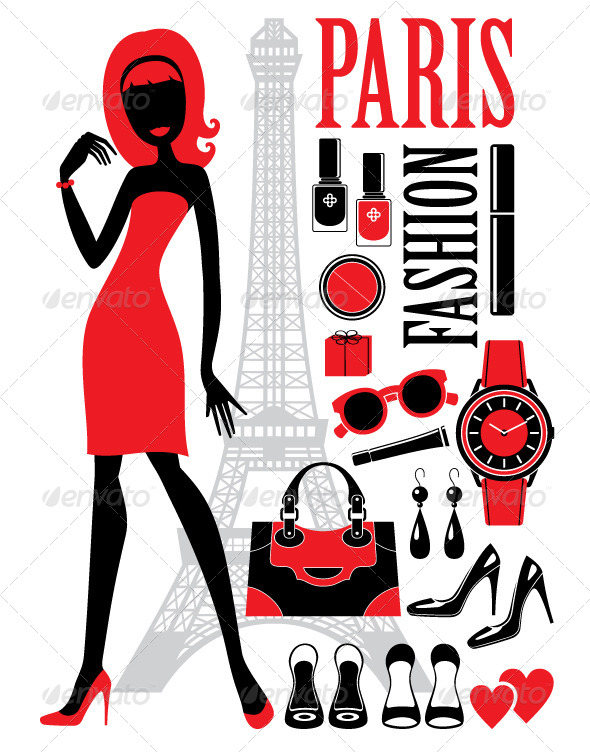 GraphicRiver Fashionable Set with Silhouettes of Women 5370313