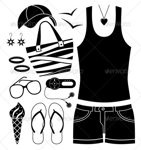 GraphicRiver Black Fashion Set Icons 5370569