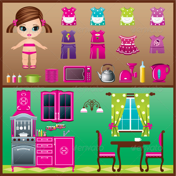 GraphicRiver Paper Doll with Clothes Set 5370898