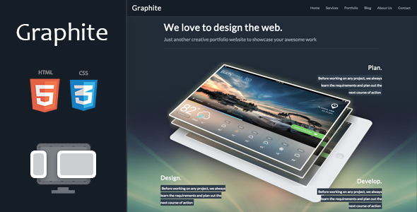 ThemeForest Graphite Responsive One-page Portfolio Template 5370910