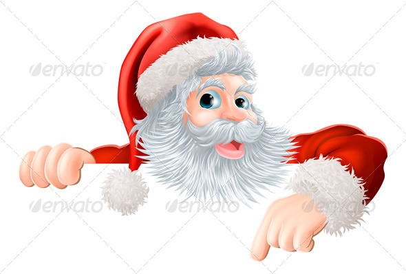 Christmas Santa Pointing Down at Sign - Christmas Seasons/Holidays