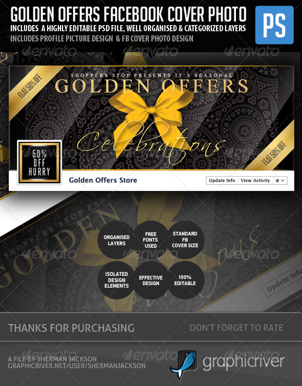 GraphicRiver Golden Offers & Mega Sale Facebook Cover Photo 5371116