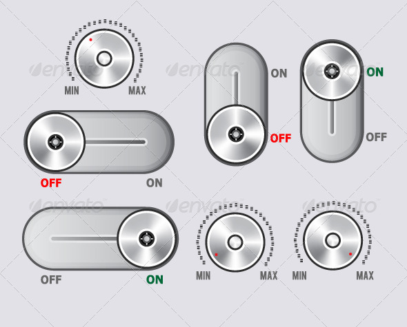 GraphicRiver Toggle Switch and Volume Controller Knobs 5371362