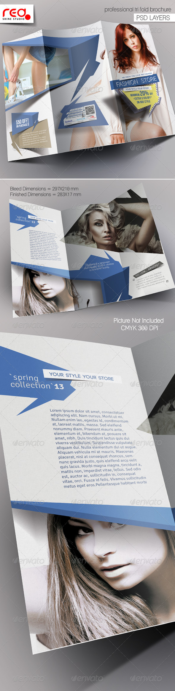 Fashion Store Trifold Brochure Template - Corporate Brochures