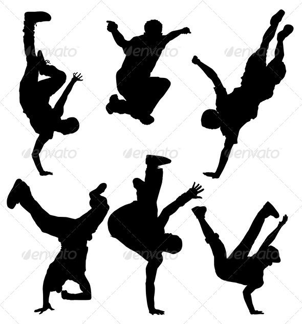 GraphicRiver Break Dancers Silhouette 5371373