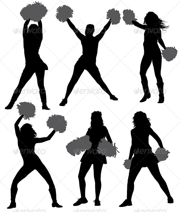 GraphicRiver Cheerleader Silhouette 5372237
