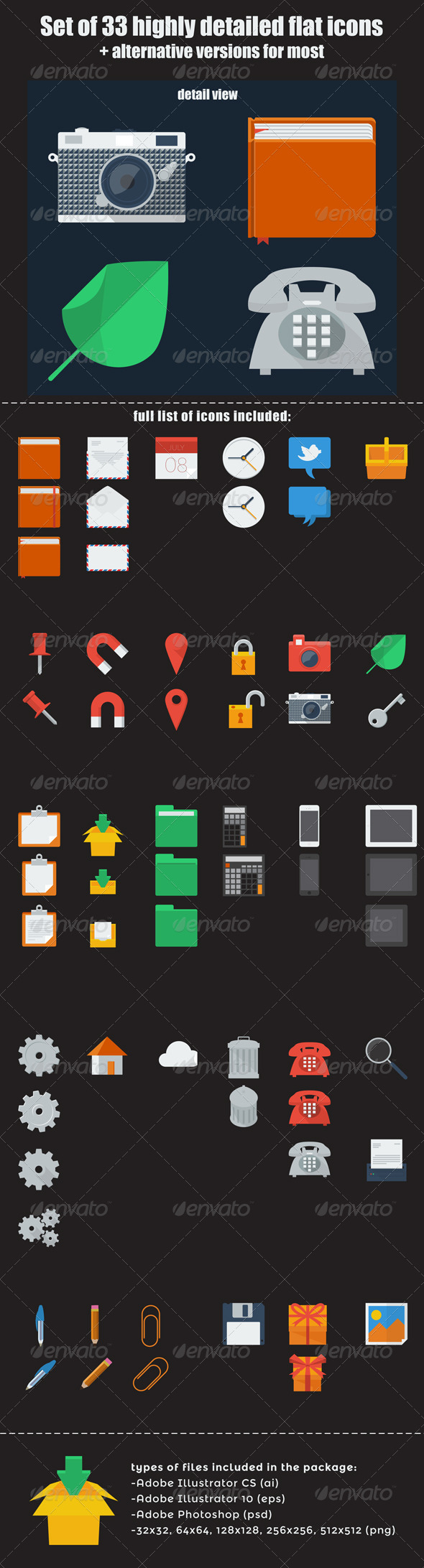 GraphicRiver Set of Flat Icons 5372717