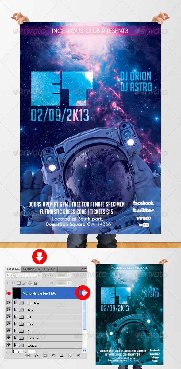 GraphicRiver ET Futuristic Party Flyer 5372729
