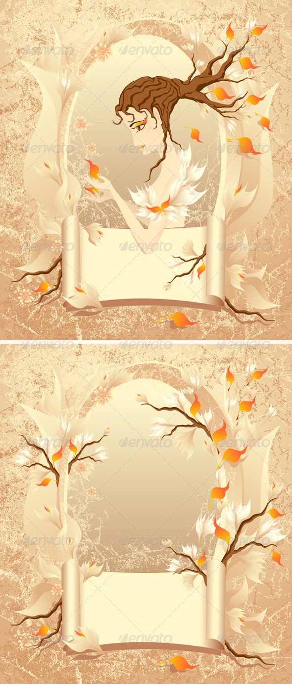 GraphicRiver Autumn Frame with a Scroll Girl on Grunge 5373289