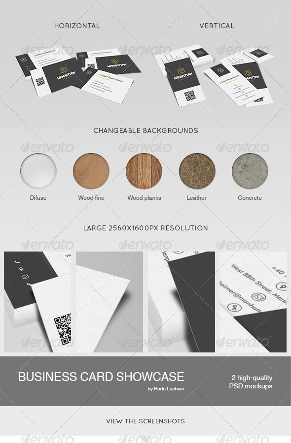 GraphicRiver 2 Business Card Showcase Mock-ups 5335060