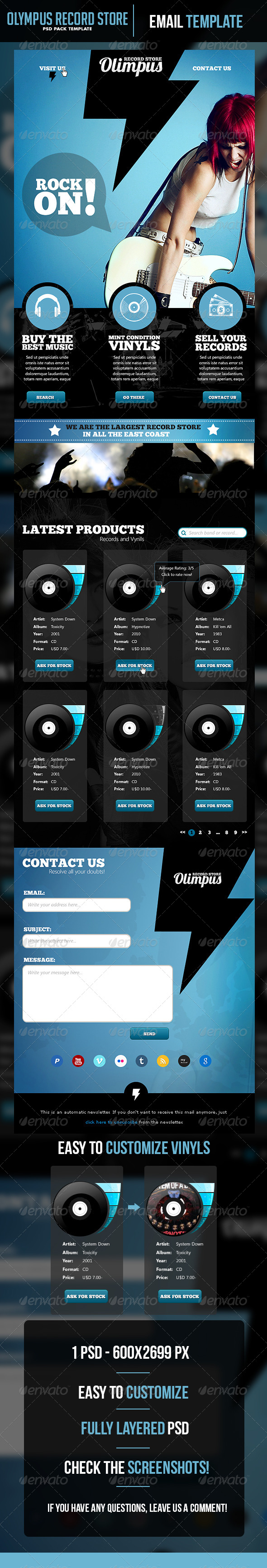 GraphicRiver Olympus Record Store Email Template 5373794