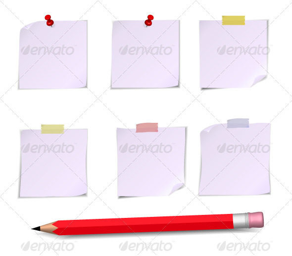 GraphicRiver Adhesive White Notes and Pencil 5373886