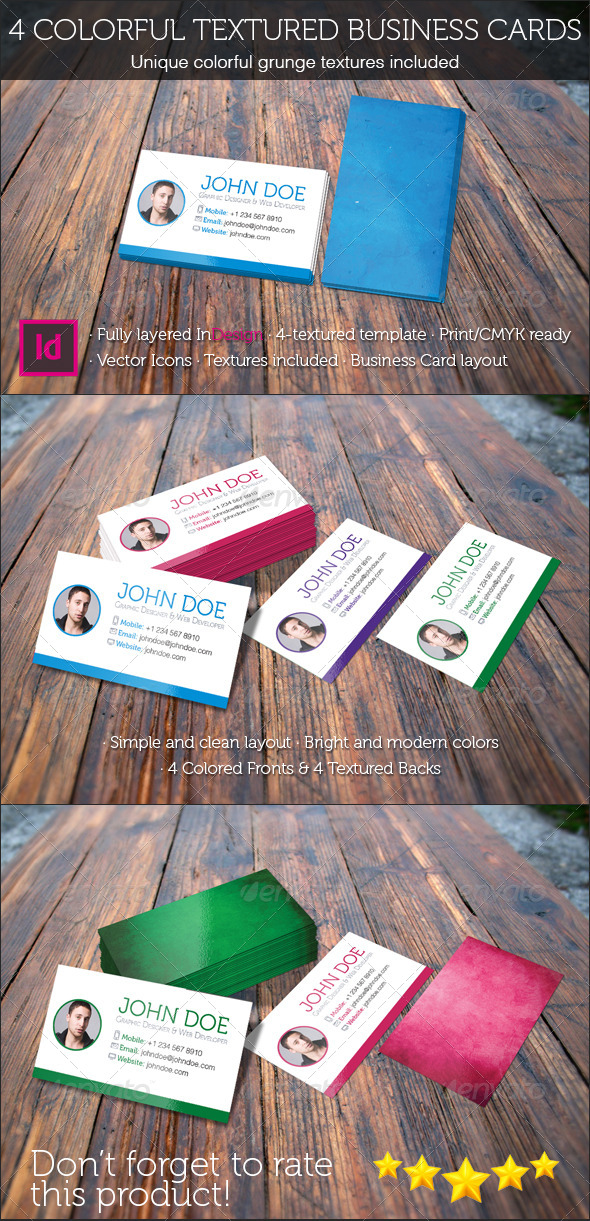 GraphicRiver 4 Colorful Textured Business Cards 5373937