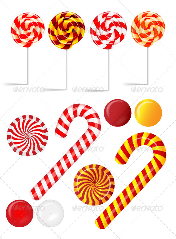 GraphicRiver Vector Set with Different Red and White Candies 5374603