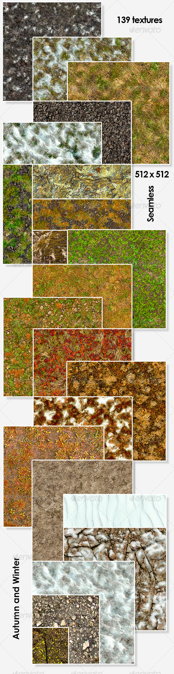 3DOcean Autumn and Winter Seamless Textures Pack 5375062