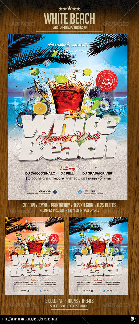 White Beach Flyer Template - Clubs & Parties Events