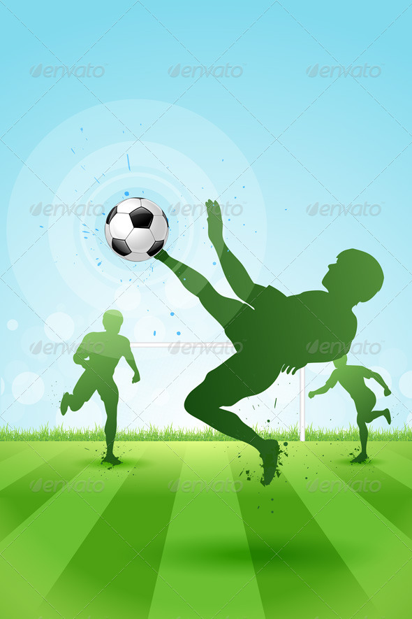 GraphicRiver Soccer Background with Three Players 5376620