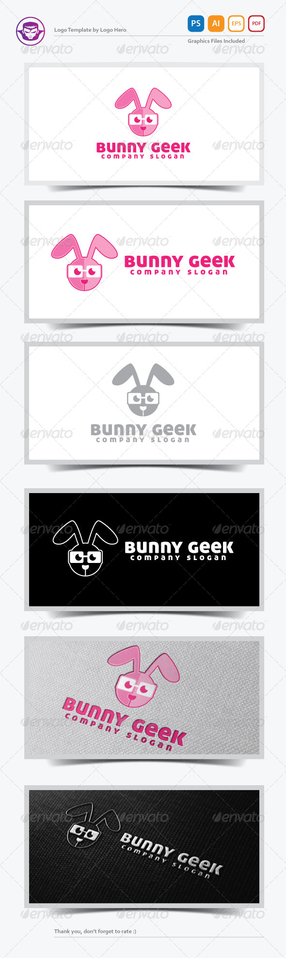 GraphicRiver Bunny Geek Logo Template 5376625