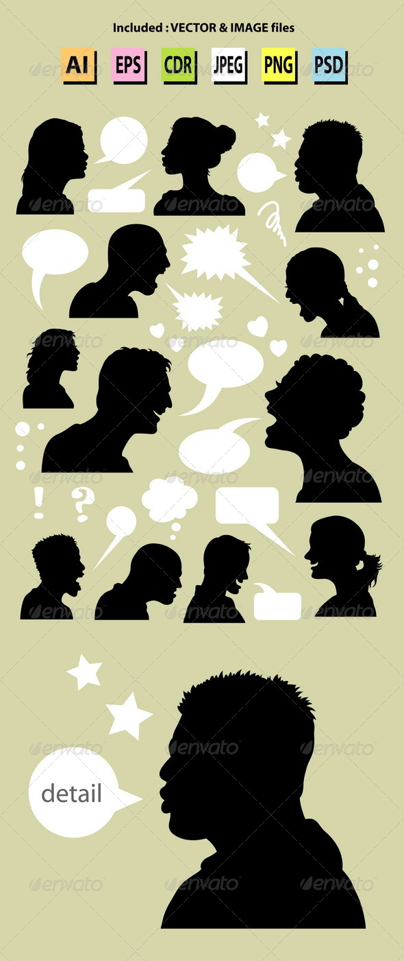 GraphicRiver People Talking Silhouettes 5370833