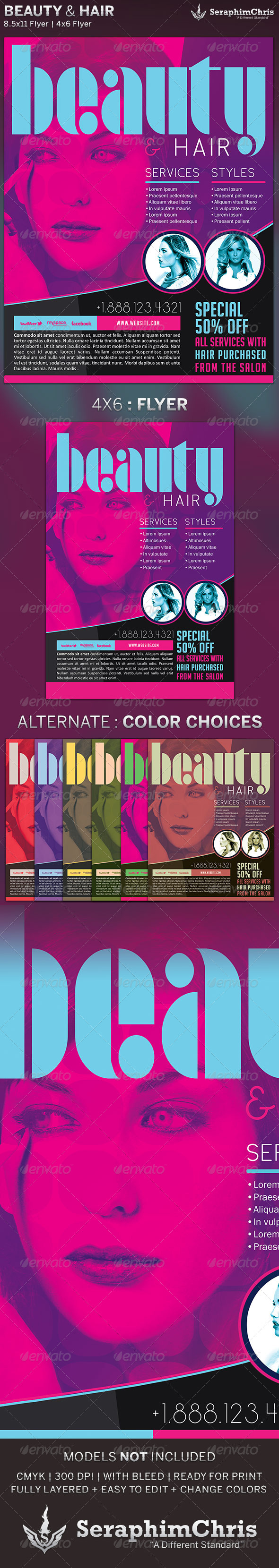 GraphicRiver Beauty & Hair Sales Flyer Template 5377879