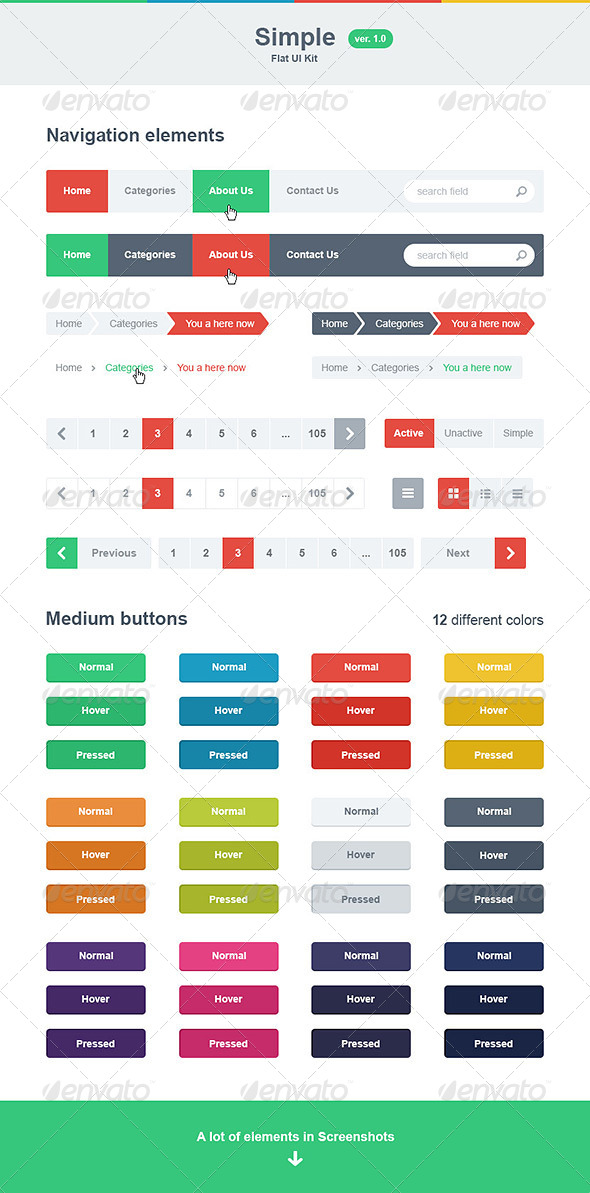Simple Flat UI Kit - User Interfaces Web Elements