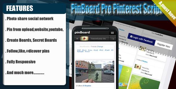 CodeCanyon pinBoard Pro Photo Sharing Social Engine 5379066