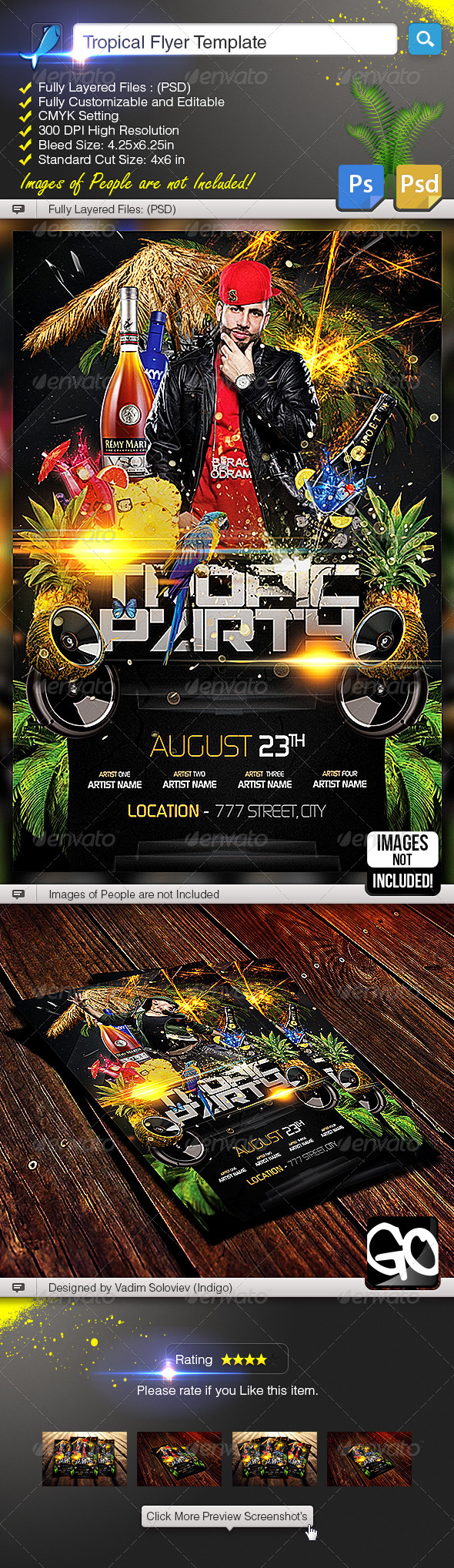 Tropical Flyer Template - Clubs & Parties Events