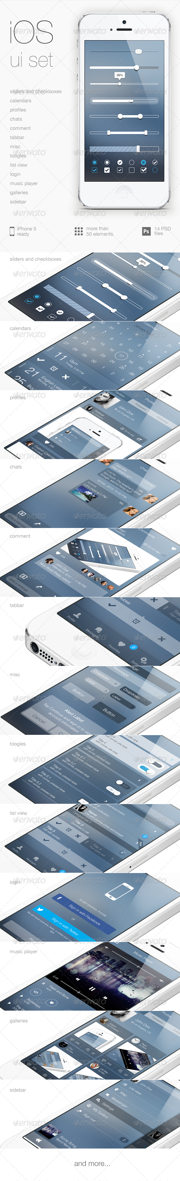 iOS Flat UI Set Vol. 3 - User Interfaces Web Elements