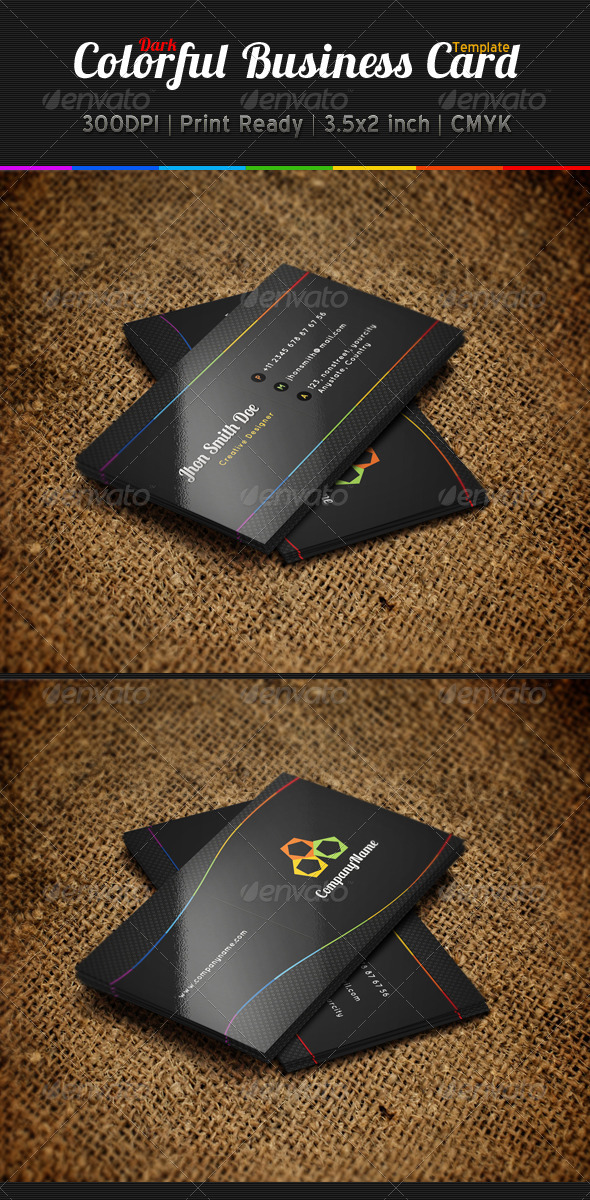 GraphicRiver Colorful Dark Business Card Template 5380160