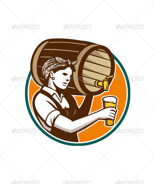 GraphicRiver Woman Bartender Pouring Keg Barrel Beer Retro 5380190