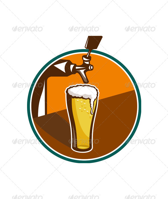 GraphicRiver Beer Pint Glass Tap Retro 5380330